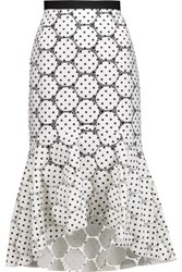 Rebecca Vallance Polka Dot Cotton Blend Mesh Midi Skirt Ivory