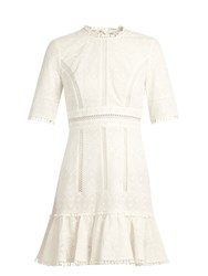 Zimmermann Caravan Ruffled Hem Embroidered Cotton Dress Ivory