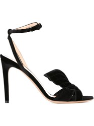 Valentino Garavani Wing On Toe Velvet Sandals Black
