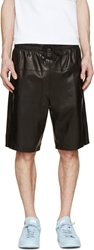 Helmut Lang Black Bonded Leather Shorts