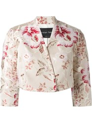 Christian Pellizzari Floral Print Cropped Jacket Red