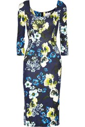 Erdem Tess Floral Print Stretch Ponte Dress Navy