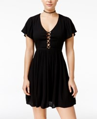 Volcom Juniors' Lattice Cutout Back Fit And Flare Dress Black