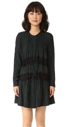 Maiyet Long Sleeve Button Up Dress Moire Teal Print