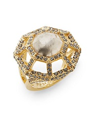 Louise Et Cie Quartz And Pave Openwork Ring Gold Grey