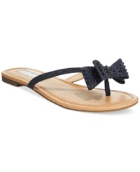 Inc International Concepts Malissa Rhinestone Bow Flat Sandals Only At Macy's Women's Shoes Eclipse Blue