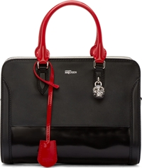 Alexander Mcqueen Black And Red Patent Padlock Duffle
