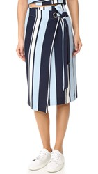 J.O.A. Stripe Wrap Skirt Navy Blue White