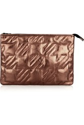 Maje Metallic Quilted Leather Clutch