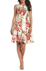 Chetta B Women's Fit And Flare Dress Lily Pad Multi