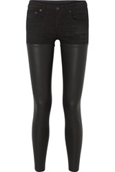 R 13 R13 Chaps Leather Paneled Mid Rise Skinny Jeans Black