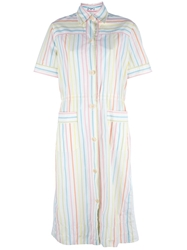Celine Vintage Striped Shirt Dress White