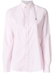 Polo Ralph Lauren Button Down Logo Shirt Cotton Pink Purple