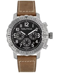 Nautica Men's Chronograph Brown Leather Strap Watch 45Mm Nad18506g