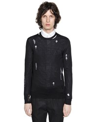 Alexander Mcqueen Destroyed Fine Wool And Silk Blend Sweater