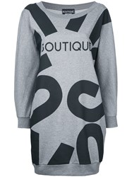 Boutique Moschino Print T Shirt Dress Grey