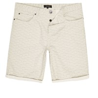 River Island Mens Light Grey Aztec Slim Fit Chino Shorts