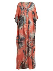 Adriana Degreas Floral Print Lace Up Silk Maxi Dress Coral