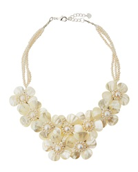 Nakamol Freshwater Pearl Flower Bib Necklace White