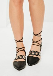 Missguided Black Eyelet Lace Up Flat Shoes