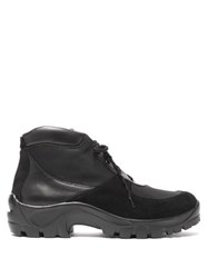 Our Legacy Nebula Leather Suede And Mesh Hiking Boots Black