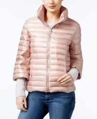 Guess Catee Three Quarter Sleeve Puffer Coat Rose Smoke Multi