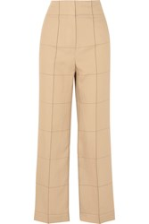 By Malene Birger Illari Checked Canvas Wide Leg Pants Beige