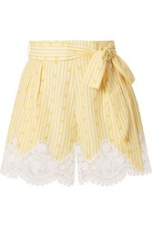 Miguelina Liana Crochet Trimmed Striped Cotton Voile Shorts Yellow