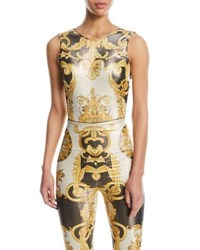 Versace Sleeveless Metallic Baroque Print V Back Top Black Pattern