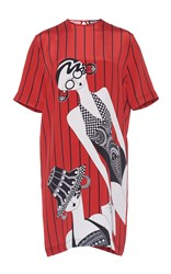 Holly Fulton Short Sleeve Printed T Shirt Dress Red