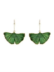 Aurelie Bidermann Fine Jewellery Ginkgo Lacquered Yellow Gold Earrings