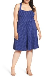 Leota Plus Size Women's Fit And Flare Dress Navy Cameo