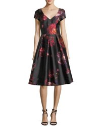 David Meister Short Sleeve Floral Brocade Cocktail Dress W Jeweled Embellishments Black Multi