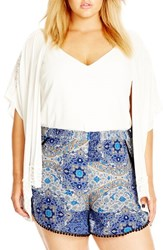Plus Size Women's City Chic Crochet Trim Kimono