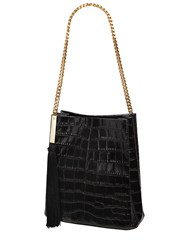 Giuseppe Zanotti Croc Embossed Patent Leather Bucket Bag