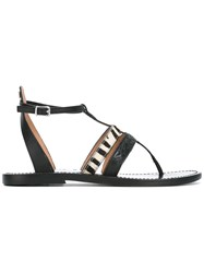 Twin Set Zebra Strap Flat Sandals Black