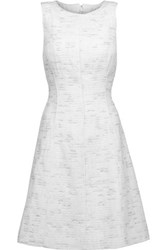 Oscar De La Renta Metallic Cotton Tweed Dress White