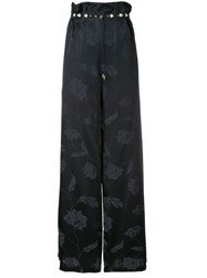 Mother Of Pearl Floral Print Wide Leg Trousers Black