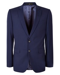 Jaeger Wool Gingham Slim Jacket Navy