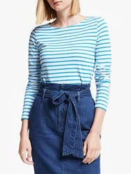 Boden Long Sleeve Breton Top Ivory Blue Lagoon