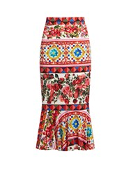Dolce And Gabbana Carretto Print Stretch Silk Midi Skirt Pink Multi