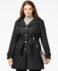 Calvin Klein Plus Size Hooded Single Breasted Trench Coat Black
