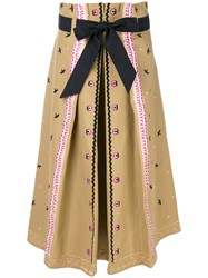 Temperley London Poppy Field Skirt Cotton Nude Neutrals