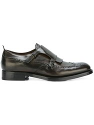 Silvano Sassetti Perforated Detail Monk Shoes Brown