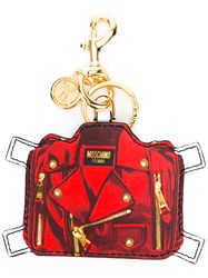 Moschino Trompe L'oeil Keyring Women Leather One Size Red