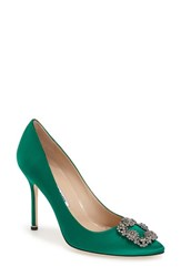 Women's Manolo Blahnik 'Hangisi' Jeweled Pump Green Satin