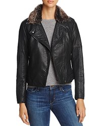 Cupcakes And Cashmere Dita Faux Fur Lined Moto Jacket Black