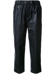 Astraet Leather Effect Cropped Trousers Black