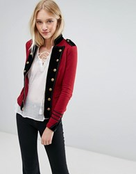 Denim And Supply Ralph Lauren By Military Jersey Jacket With Zip Red