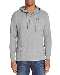Psycho Bunny Button Placket Pullover Hoodie Sweatshirt Heather Grey